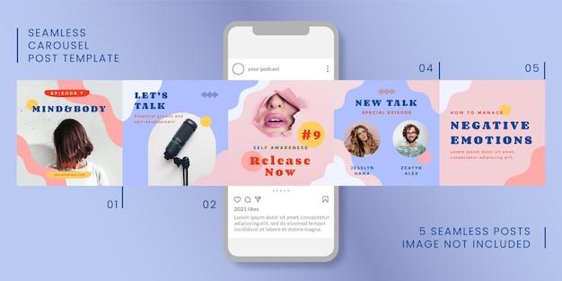 Modelo de postagem de carrossel sem costura com tema de podcast para mídias sociais.