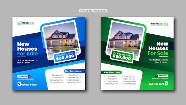 Modelo de postagem de casa para venda em mídia social