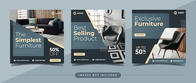 Modelo de postagem de coleção de mídia social para venda de móveis modernos