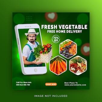 Modelo de postagem de conceito exclusivo para promoção de entrega de frutas e legumes frescos em mídia social