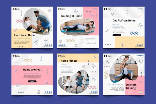 Modelo de postagem de exercícios em casa na mídia social familiar