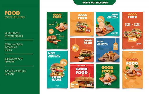 Modelo de postagem de feed de histórias do instagram de alimentos