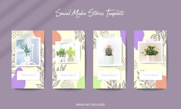 Modelo de postagem de feed de instagram de mídia social em estilo de quebra-cabeça de grade com fundo de forma orgânica