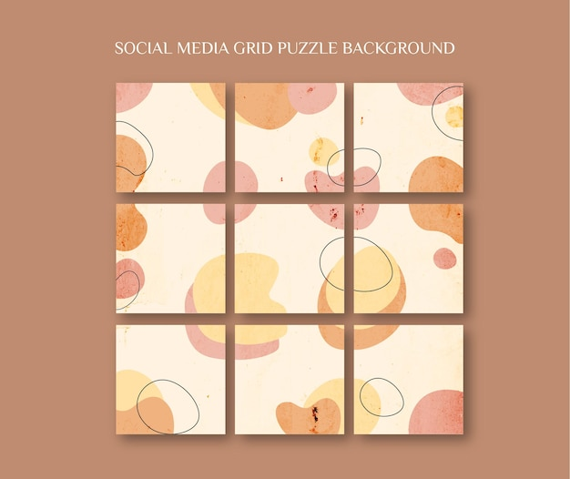 Modelo de postagem de feed de instagram de mídia social em estilo quebra-cabeça de grade com fundo de pintura de forma orgânica