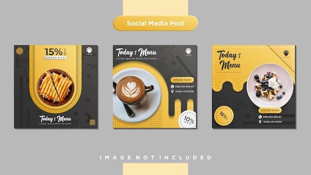 Modelo de postagem de feed de mídia social culinária