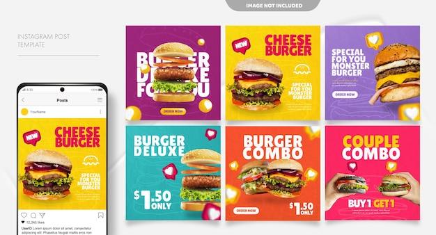 Modelo de postagem de feed de mídia social de hambúrguer