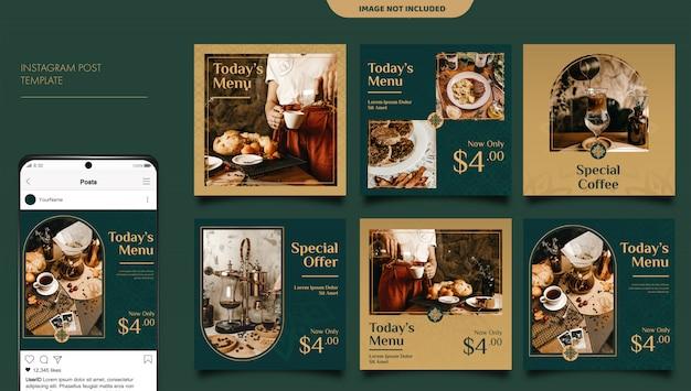 Modelo de postagem de feed de mídia social de restaurante