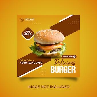 Modelo de postagem de feed de mídia social delicioso hambúrguer vector premium