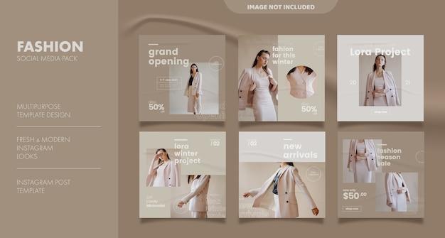 Modelo de postagem de feed de mídia social para negócios de moda
