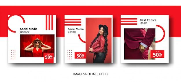 Modelo de postagem de feed de mídia social vermelha minimalista