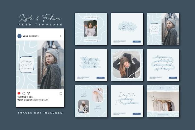Modelo de postagem de feed de quebra-cabeça de mídia social para venda de moda inverno