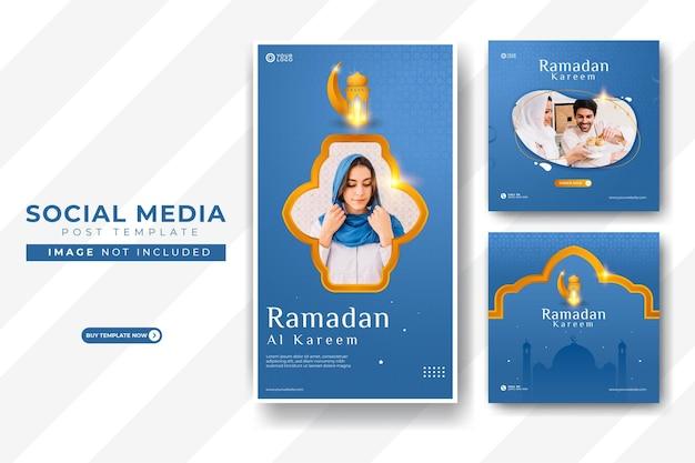 Modelo de postagem de feed do instagram e instagram do ramadan kareem