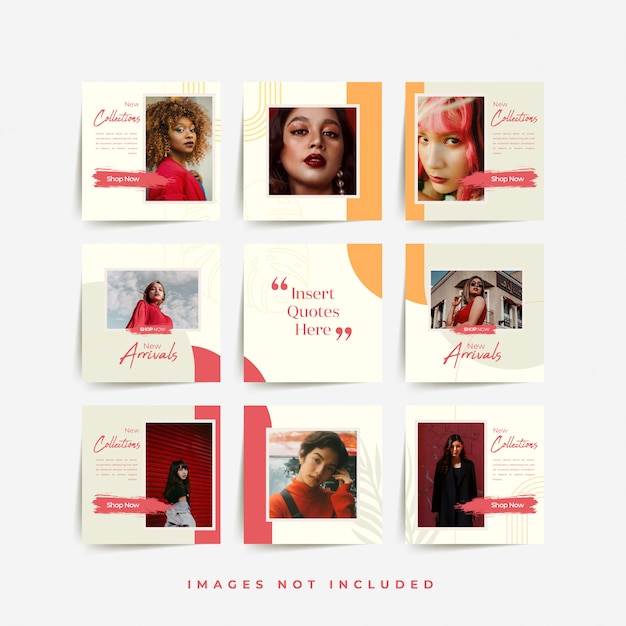Modelo de postagem de grade de quebra-cabeça de mídia social para promoção de venda de moda