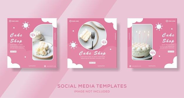 Modelo de postagem de histórias de banner de bolo para vetor premium de mídia social