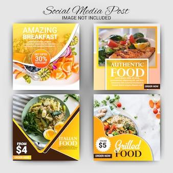 Modelo de postagem de instagram de comida