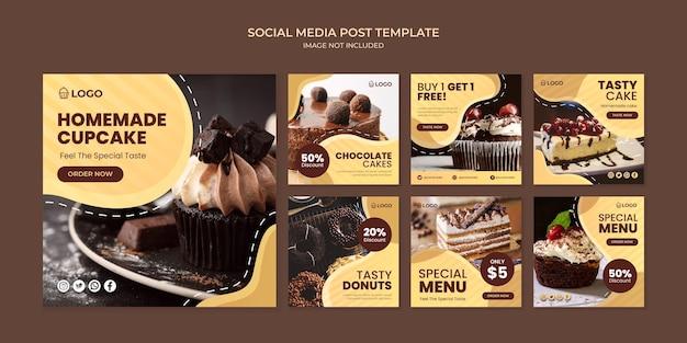 Modelo de postagem de instagram de mídia social de cupcake caseiro