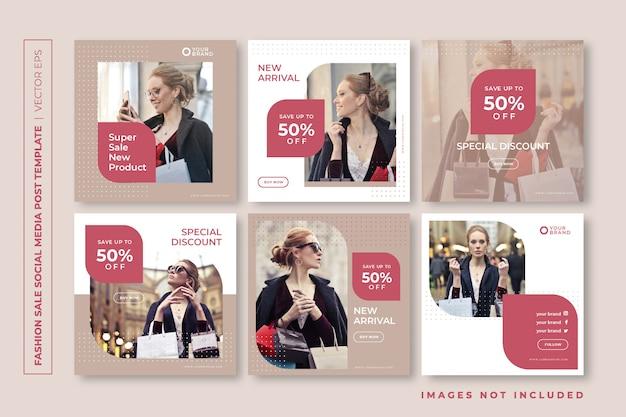 Modelo de postagem de instagram de mídia social de venda de moda