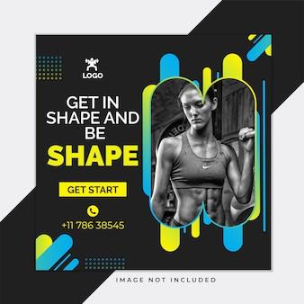 Modelo de postagem de instagram de mídia social preta de ginásio e fitness
