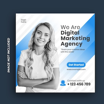 Modelo de postagem de marketing digital corporativo em mídia social
