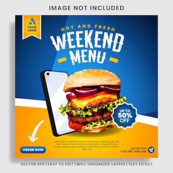 Modelo de postagem de menu de comida e hambúrguer em mídia social