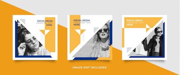 Modelo de postagem de mídia social amarela e azul
