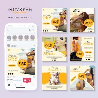 Modelo de postagem de mídia social amarela