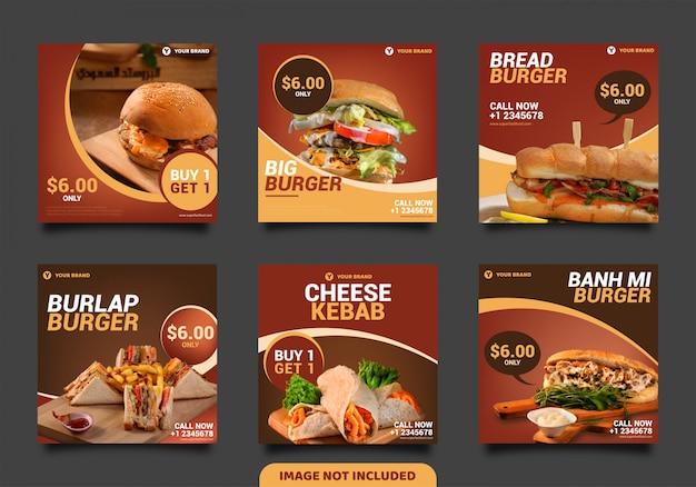 Modelo de postagem de mídia social burger, banner quadrado ou panfleto