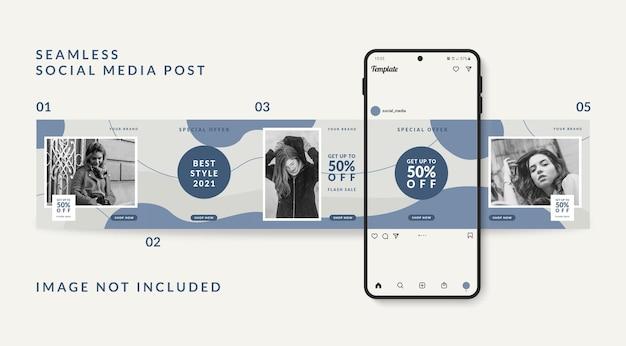 Modelo de postagem de mídia social carrossel promoção de venda de moda