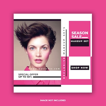 Modelo de postagem de mídia social colorida venda rosa