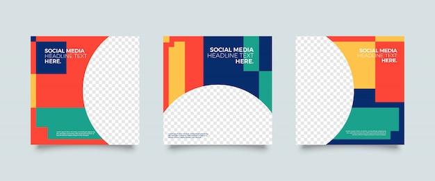 Modelo de postagem de mídia social colorida