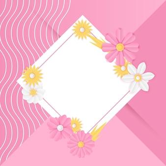 Modelo de postagem de mídia social com decoração de flor rosa fresca de corte de papel. modelo de post instagram dinâmico e moderno