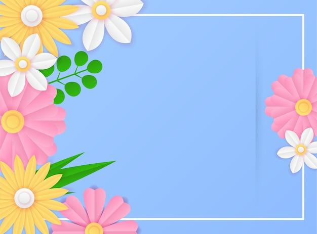 Modelo de postagem de mídia social com decoração de flores azuis frescas de corte de papel. modelo de post instagram dinâmico e moderno