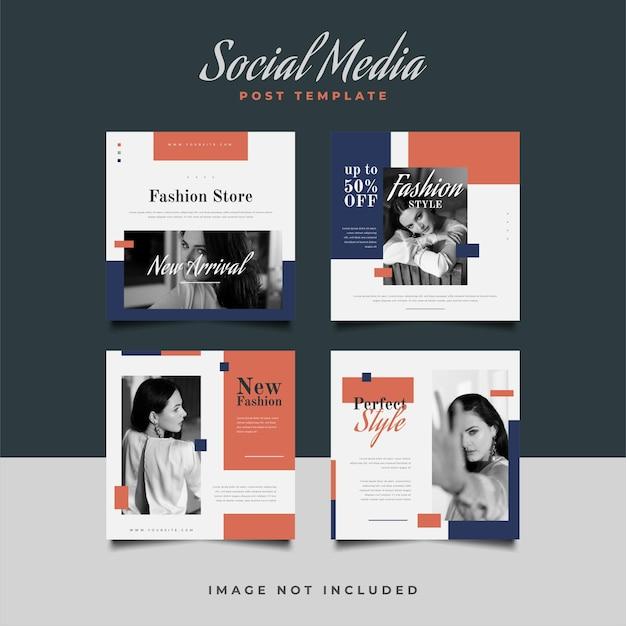 Modelo de postagem de mídia social com estilo minimalista para promoção de moda.