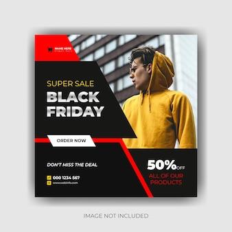 Modelo de postagem de mídia social com modelo preto de banner de venda de sexta-feira vetor premium