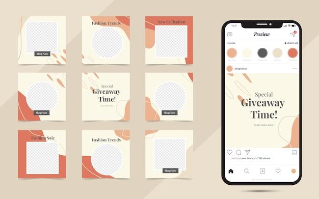Modelo de postagem de mídia social criativa banner promoção de venda de moda e quebra-cabeça de moldura de post quadrado instagram totalmente editável