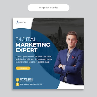 Modelo de postagem de mídia social da agência de marketing digital, modelo de banner quadrado