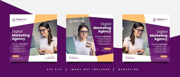 Modelo de postagem de mídia social da agência de marketing digital