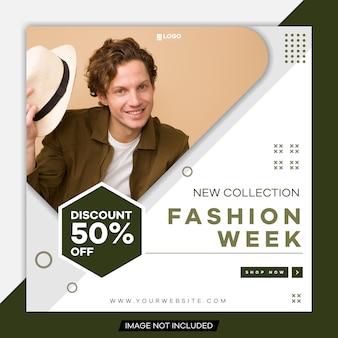 Modelo de postagem de mídia social da semana de moda editável.