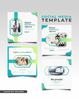 Modelo de postagem de mídia social de agência de marketing digital em conceito colorido e dinâmico.