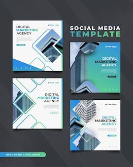 Modelo de postagem de mídia social de agência de marketing digital em conceito moderno e dinâmico.