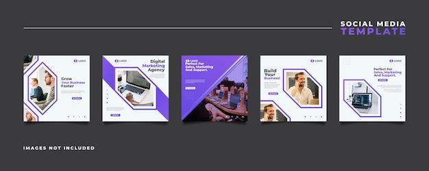 Modelo de postagem de mídia social de agência de marketing digital em um conceito moderno e futurista.