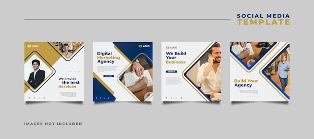 Modelo de postagem de mídia social de agência de marketing digital em um conceito moderno e minimalista.