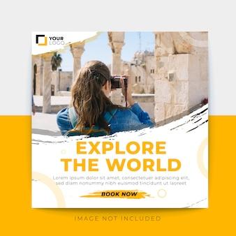 Modelo de postagem de mídia social de banner de viagem