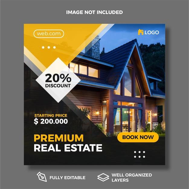 Modelo de postagem de mídia social de bens imobiliários modernos.