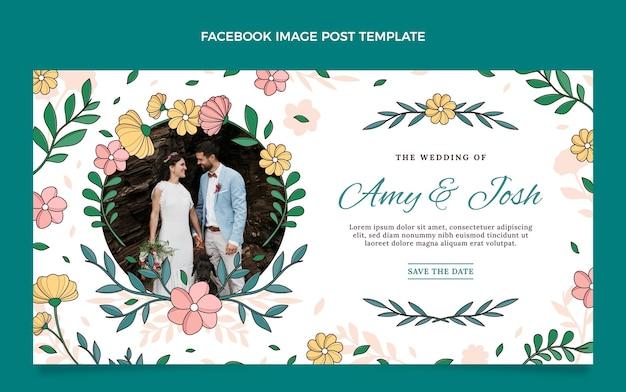 Modelo de postagem de mídia social de casamento desenhado à mão
