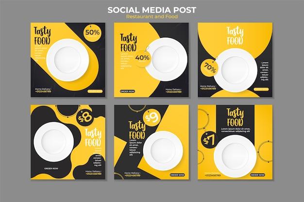 Modelo de postagem de mídia social de comida.