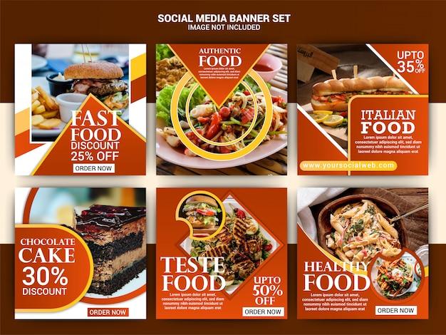 Modelo de postagem de mídia social de comida