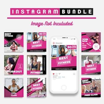 Modelo de postagem de mídia social de desconto de fitness