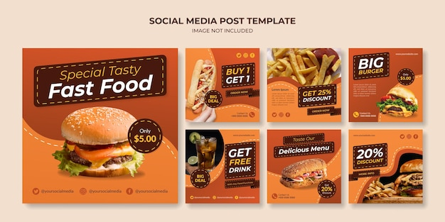Modelo de postagem de mídia social de fast food para restaurante e café