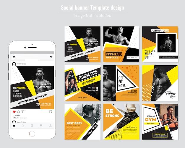 Modelo de postagem de mídia social de ginásio
